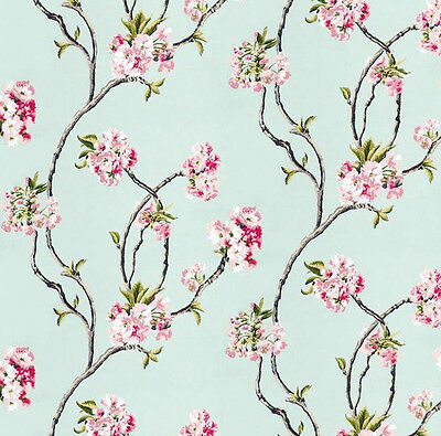 3 sheets of Dolls House Wallpaper 1/12th scale Blue Blossom Quality Paper #14