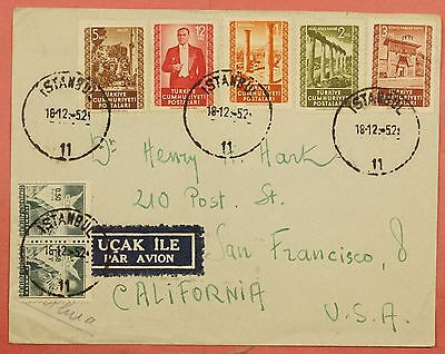 1952 Turkey Multi Franked Airmail Cover Instanbul To Usa