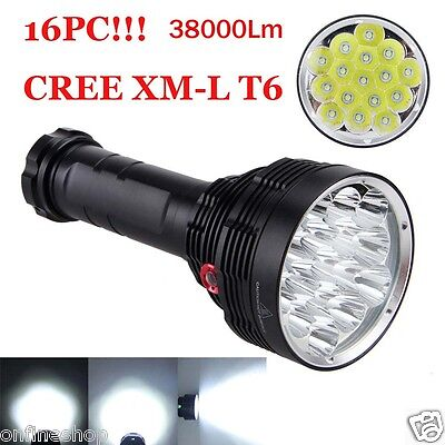 38000LM 16x XM-L T6 LED Flashlight 3 Mode Waterproof Torch Light Lamp 18650