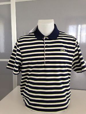 Polo Lacoste Blanc/Marine/Jaune Fluo taille 4 (M)*