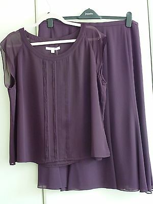 New Jacques Vert Plum Skirt And Top Soft Suit Size 22 BNWT Wedding, Cruise etc