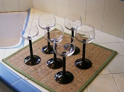 Contemporary Wine Glasses - France - Black Stems / Clear Bowls - Set of 6