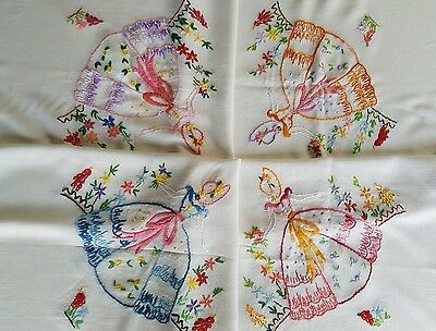 Lovely Vintage Hand Embroidered Tablecloth/ Crinoline Lady