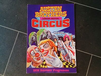 Austen Brothers Circus Programme  1978 not poster