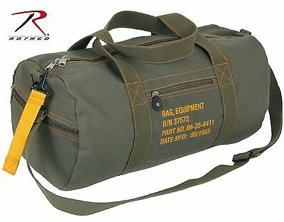 """Military Type Olive Drab Green Cotton Canvas 19"""" Equipment Duffle Bag w/ Strap"""