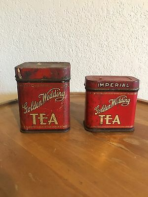 Two Vintage Golden Wedding Tea Red Spice Tin 1.5 oz & 1/4 Pound