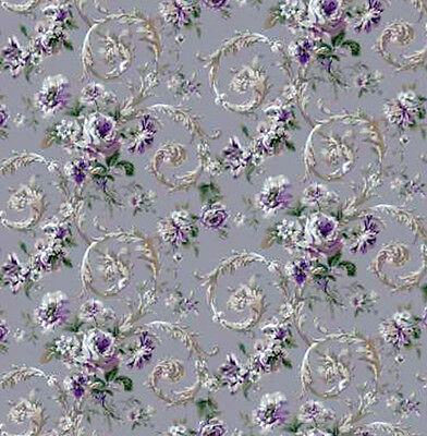 3 sheets of Dolls House Wallpaper 1/12th scale Lilac Floral Quality Paper #193