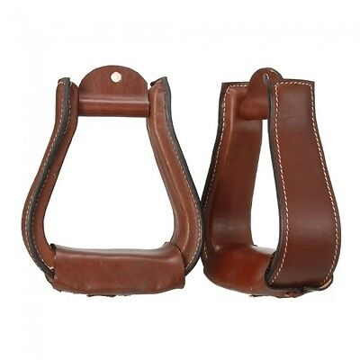 "Tough-1 Leather Covered Stirrups 2 3/4"" tread - Dark Oil"