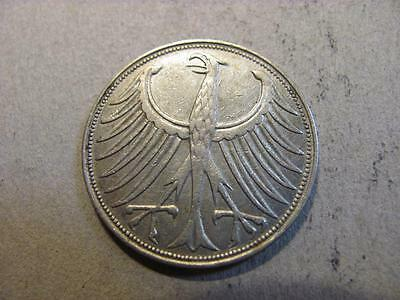 Germany 1951 J 5 Mark Silver Coin XF Extra Fine (X58)