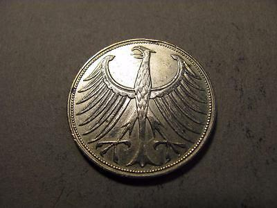 Germany 1951 D 5 Mark Silver Coin XF/AU (X.21)