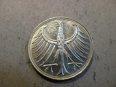 Germany 1965 G 5 Mark Silver Coin AU About Uncirculated (X55)