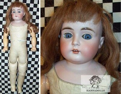 """22""""Antique German Kesnter 166 Bisque Head Doll w Marked Cork Body w Perfect Arms"""