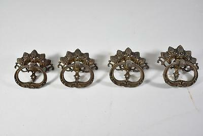 Set Of 4 Antique Victorian Brass Dresser Drawer Pulls Hardware