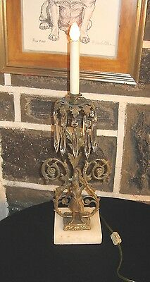 UNIQUE Antique lamp Brass figure with ornate back Prism's marble base very cool