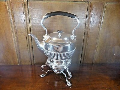 EXCELLENT DIXON silver plated TEA KETTLE on STAND with BURNER