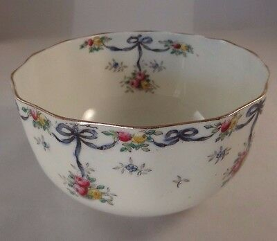 Vintage G W & Sons Queens China Floral Gilded Scalloped Sugar Bowl Circa 1910 VG