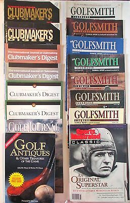 15 Vintage Golf Magazines 2 Catalogs Olmans' Book Golf Antiques W/ Price Guide