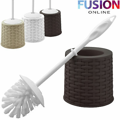 Rattan Style Bathroom Toilet Cleaning Brush And Holder Free Standing Set