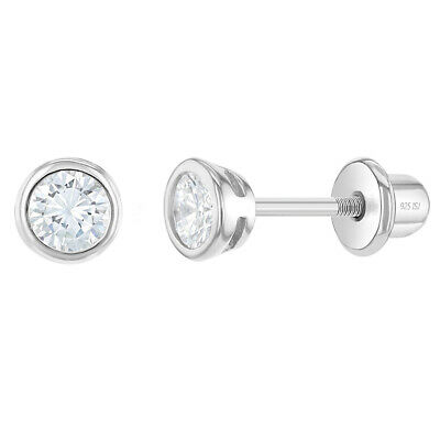 925 Sterling Silver 3mm Bezel Set Clear CZ Toddler Earrings with Screw Back Baby