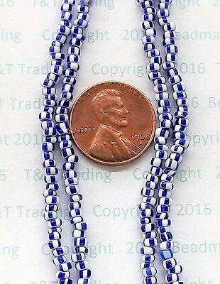 """Striped Blue Core Trade Beads 24"""" Strand Antique  African Venetian # 176"""