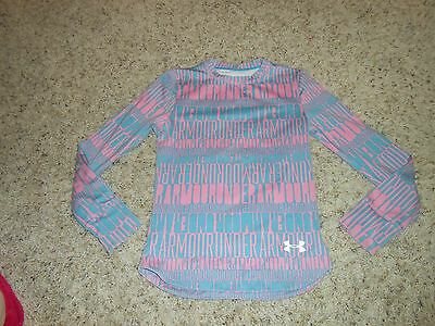 Girls Under Armour Top Size Large Youth Shirt Pink/Gray Coldgear Fitted