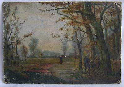 Original Oil Painting on board: Country scene with woodcutters C.1914 signed.