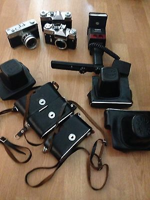 Vintage camera job lot Petri 7S zenit em cobra flash spares/repairs