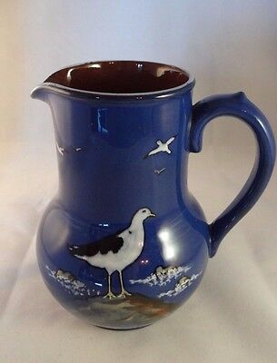 "Devon Pottery Torquay Ware Blue Seagull 6"" Water Jug Pitcher Ewer Art Nouveau"