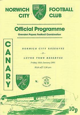 NORWICH CITY RESERVES v LUTON TOWN 90-1 Football Combination Programme