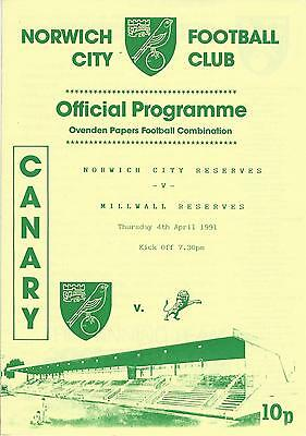 NORWICH CITY RESERVES v MILLWALL 90-1 Football Combination Programme
