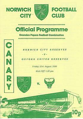 NORWICH CITY RESERVES v OXFORD UNITED  90-1 Football Combination Programme