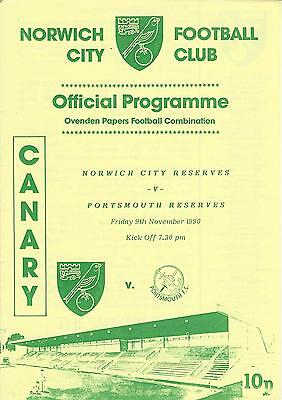 NORWICH CITY RESERVES v POIRTSMOUTH 90-1 Football Combination Programme