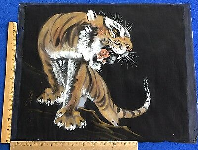 Rare Antique Hand Painted Japanese Tiger On Black Silk - Artist Signed - Scroll