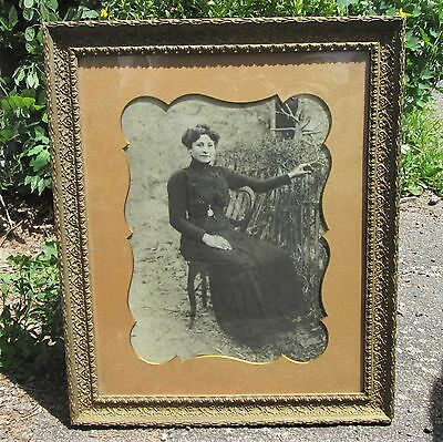 """ANTIQUE FRENCH PICTURE FRAME 19"""" x 23"""" WOOD GESSO BRASS ORIGINAL GLASS & PHOTO"""