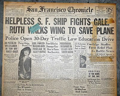 1927 San Francisco Front Page - Aviatrix Ruth Elder Walks Wing To Save Plane