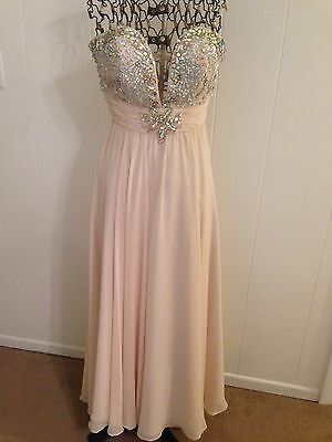 Shail K Prom / Formal Cream W/ Silver Like Beading Long Dress Strapless Size 4