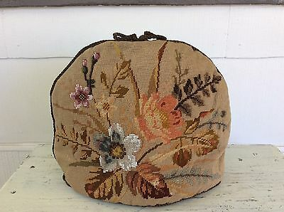 Antique English Cottage Beaded Flower Design Needlepoint Tapestry Tea Cosy