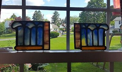 Set Of 2 Bookend Style Antique Stained Leaded Glass Suncatchers For Repurposing