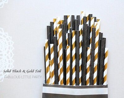50 Black and Gold Foil Party Straw Mix New Years Eve, Guy Birthday 30th, 50th