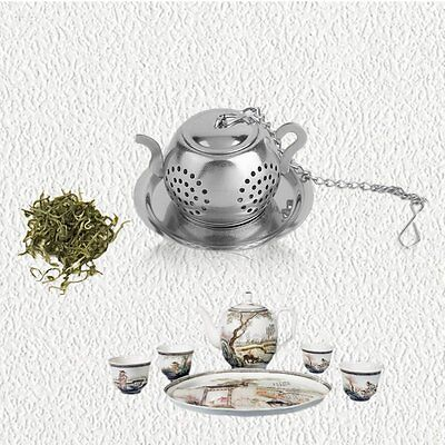 304 Stainless Steel Plane Round Teapot Tea Leaf Infuser Ball Strainer Filter RS