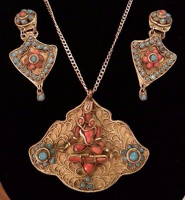 Reduced VINTAGE NEPALESE TIBETAN BRASS BUDDHA TURQUOISE CORAL NECKLACE EARRINGS