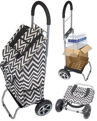 Trolley Dolly Black Chevron Shopping Grocery Foldable Cart