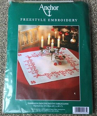 Anchor Freestyle Embroidery Kit Dancing Santas Tablecloth