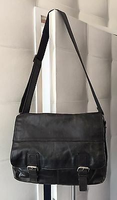 Black Aged Distressed Real Leather Fossil Men's Cross Body Messenger Large Bag
