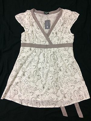 Patch Maternity Women's Blouse Size S Small short cap sleeve white purple floral
