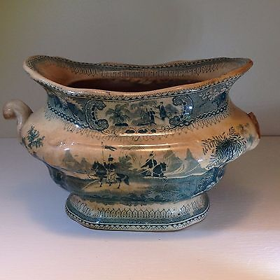 "Antique Blue Transferware Sugar Bowl Belzoni No Lid Marked ""3"" and U"