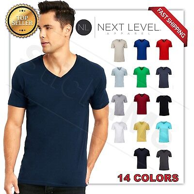 NEW MAN'S  V BLANK  T-SHIRT Premium Fitted V Neck Cotton Shirt Next Level 3200