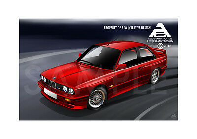 BMW M3 E30 A3 Poster Illustration