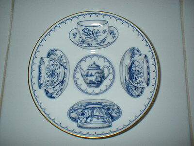 Beautiful Royal Worcester Blue + White Saucer With Teapot And Cups/saucer Design