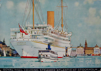 1930s Colour Poster Postcard, R.M.S.P. Atlantis, Stockholm.